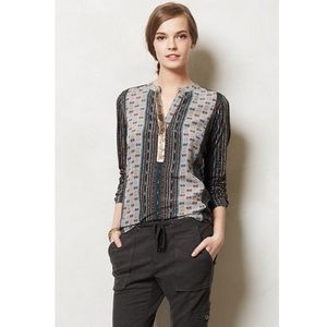 Anthro Tiny Devas Sequin Printed Popover Blouse
